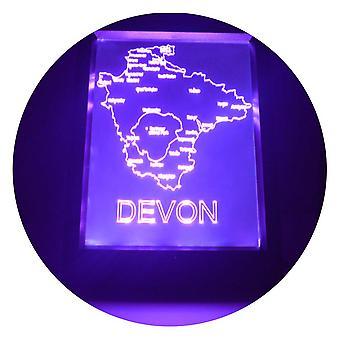 Devon (UK) kaart kleur RC LED spiegel licht Frame wijzigen