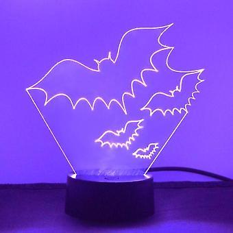 Gruppen af tre flyvende flagermus LED akryl lys