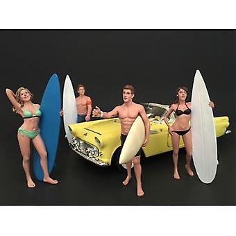Surfisti 4 pezzi Figura set per modelli in scala 1:18 di American Diorama