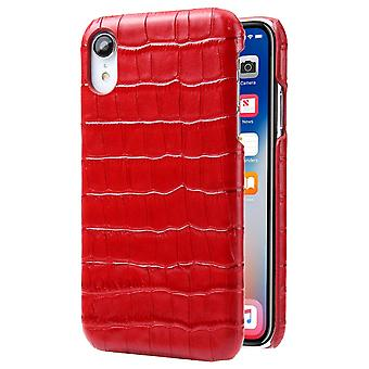 For iPhone XR Case Red Genuine Crocodile Leather Back Shell Cover