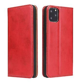 Para iPhone 11 Pro Max Caso couro flip wallet capa protetora com stand vermelho
