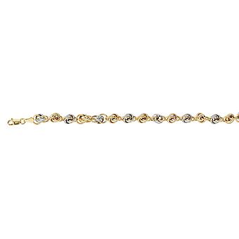 14k Yellow and White Gold Two tone Knotted Link Chain Bracelet With Lobster Claw Closure 7.50 Inch Jewelry Gifts for Wom