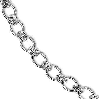 8.04mm 925 Sterling Silver Rodium polerad och texturerat Fancy Link Armband 7,5 tums smycken gåvor för kvinnor