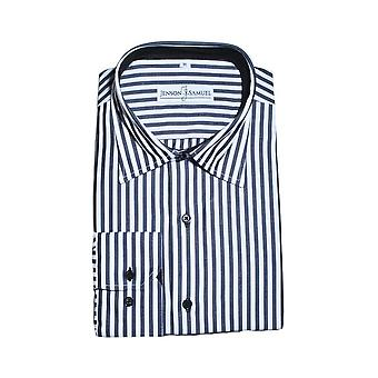 JSS Striped Black & White Regular Fit 100% Cotton Shirt