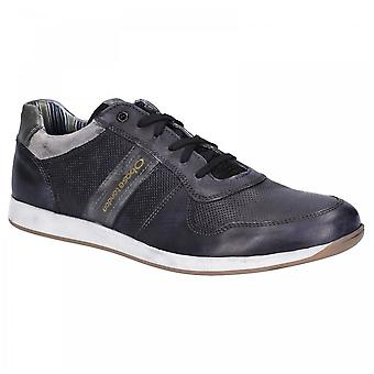Base London Mens Eclipse Black Leather Softy Lace Up Trainers