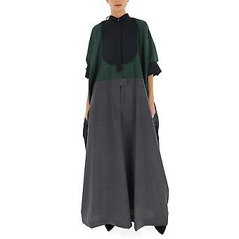 Sacai 2004820326 Women's Grey/green Polyester Dress