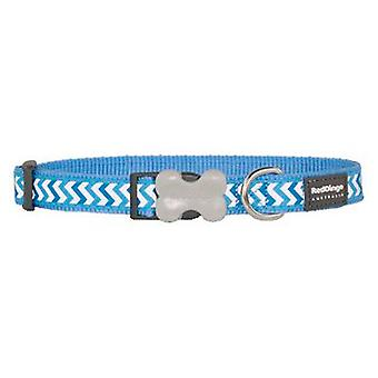 Red Dingo Dog Collar Reflective Ziggy Medium Blue