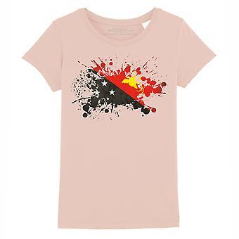STUFF4 Girl's Round Neck T-Shirt/Papua New Guinea Flag Splat/Coral Pink