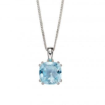 Elements Silver Sterling Silver Blue Topaz Cushion Pendant P4861T
