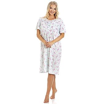 Camille Womens Aqua Blue PolyCotton Short Sleeve Floral Nightdresses