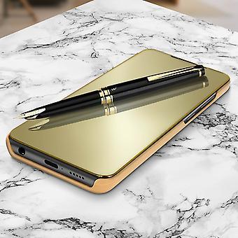 Flip-kotelo, Peilikotelo Samsung Galaxy A71: lle, seisova kansi - kulta
