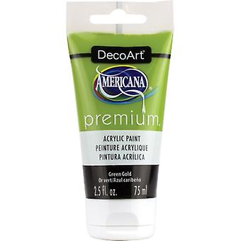 Americana Premium Acrylic Paint Tube 2.5oz-Green Gold