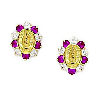 14k Yellow Gold Red CZ Cubic Zirconia Simulated Diamond Religious Faith Inspiration Jesus Screw back Earrings Measures 1