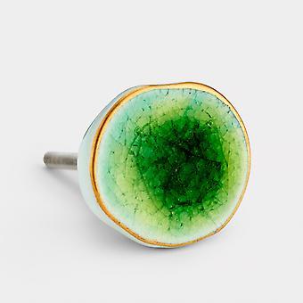Ceramic Door Knob - Green - Concave