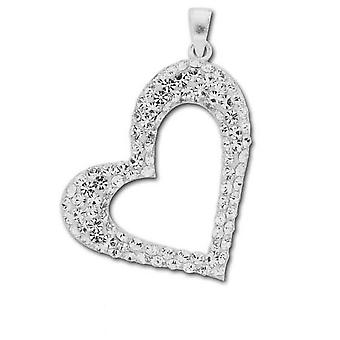Toc Sterling Silver Clear Crystal Cut Out Heart Pendant on 18 Inch Chain
