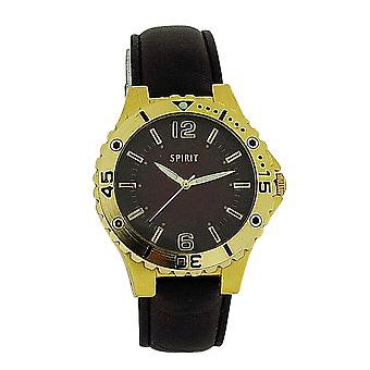 Spirit Gents Brown Dial, Goldtone Bezel & Brown PU Strap Fashion Watch 911-0207