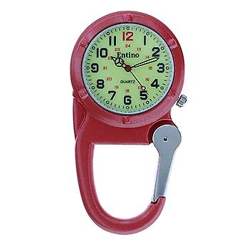 Entino Silver Clip on Carabiner Red FOB Watch Luminous Dial Ideal For Doctors Nurses Camping