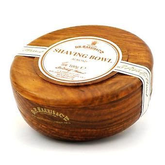 D R Harris Wooden Shaving Bowl + Soap 100g-Almond-Mahogany effect