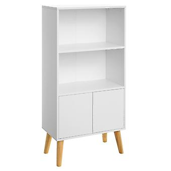 Cabinet with 2 doors and 2 open compartments-white/natural