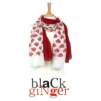 Black Ginger Twin Scarf Set [2] with Red Ruby Design (734-407)