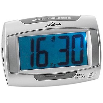 Atlanta 1669/19 Herätyskello kvartsi digitaalinen hopea kevyt torkku digitaalinen herätyskello