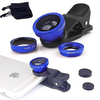 ONX3 Motorola Moto Z Play Droid (Blue) 3 in 1 Phone Camera Lens Kit Fisheye Lens + Wide Angle Lens + Macro Lens with Universal Clip-on 180 Degree For Both Android and iOS Devices