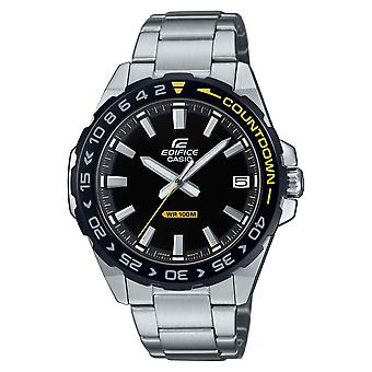 Casio Edifice Quartz Silver Stainless Steel Black Dial Countdown Bezel Mens Watch EFV-120DB-1AVUEF