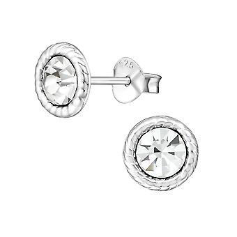 Раунд - 925 стерлингового серебра кристалл уха шпильки - W26237x