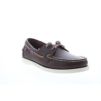 Sebago Portland Mens Brown Wide 2E Couro Low Top Sapatos de Barco Loafers