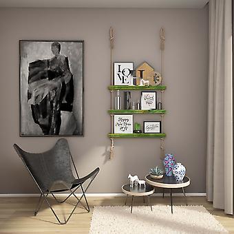 Halatli Regal grüne Farbe, Ecru Holz, Juta, L75xP9xA125 cm
