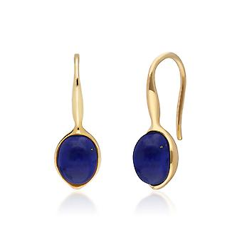 Irregular B Gem Lapis Lazuli Drop Earrings in Yellow Gold Plated Sterling Silver  270E027003925
