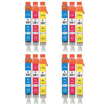 4 C/M/Y Set von 3 Tintenpatronen, um Canon CLI-581 Compatible/Non-OEM von Go Inks (12 Tinten) zu ersetzen