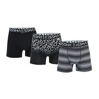 Men's Crosshatch Black Label Formbee 3 Pack Boxer Shorts in Black