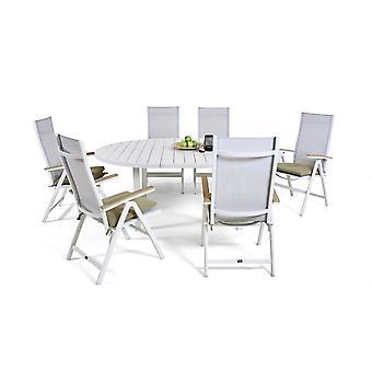 Alu étkező csoport Salvador 6 145/197 cm, kerek - fehér