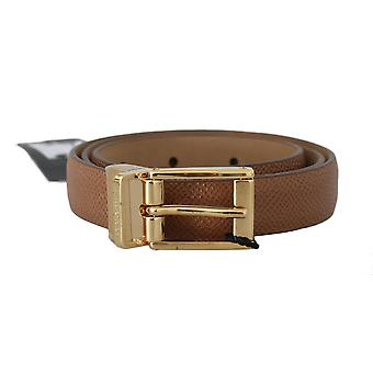 Dolce & Gabbana Brown Dauphine Leather Gold Buckle Belt