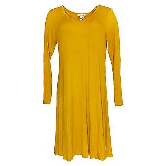 Masseys Women's Top Crisscross V-Neck Tunic Mustard Yellow