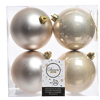 4 Pearl Gold 10cm Shatterproof Christmas Tree Bauble Decorations
