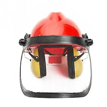Protective Forestry Chainsaw Garden Safety Helmet- Hat Ear Metal Visor 180 Degrees Adjustable Ear Defenders
