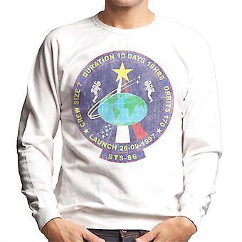 NASA STS 86 Atlantis Mission Badge Distressed Men's Sweatshirt