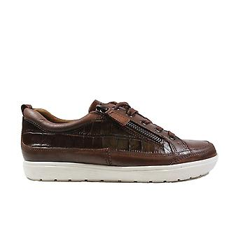 Caprice 23655 Cognac Leather Womens Lace/Zip Up Casual Trainers