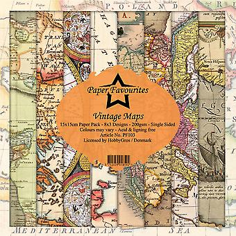 Dixi Craft Paper Favourites Vintage Maps 6x6 Inch Paper Pack