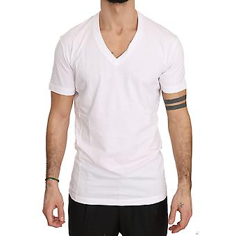 White Cotton Logo Print V-neck Mens Top Short Tshirt -- TSH3604080