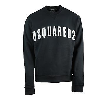 Dsquared2 Grande Logo Nuova Felpa Nera Dan Fit
