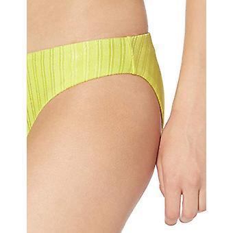 Bikini Lab Women's Hipster Bikini Swimsuit Bottom, Citron//Luster Rib, S