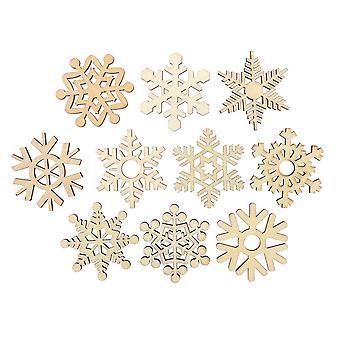 20PCS Ornements de pendentifs de flocon de neige en bois