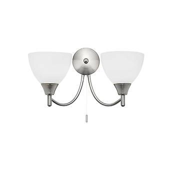 endon alton - 2 lys innendørs vegg lys sateng krom med matt opal glass, e14