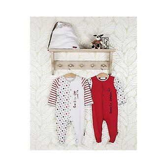 The Essential One 2 Pack Baby Unisex Star Sleepsuits Red