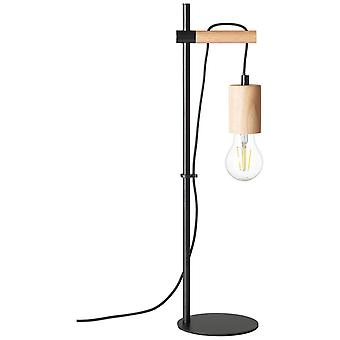 BRILLIANT lampa Jenji bordslampa trä ljus/svart | 1x A60, E27, 40W, lämplig för normala lampor (medföljer ej) | Skala