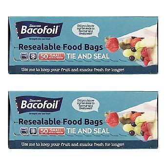 2 x 50 sacs Bacofoil Food Freezer Réfrigérateur Home Storage Déjeuner Sandwich Fruit
