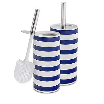 Toilet Brush and Closed Ceramic Holder Set - Steel Handle - Navy Stripe - Pack of 2